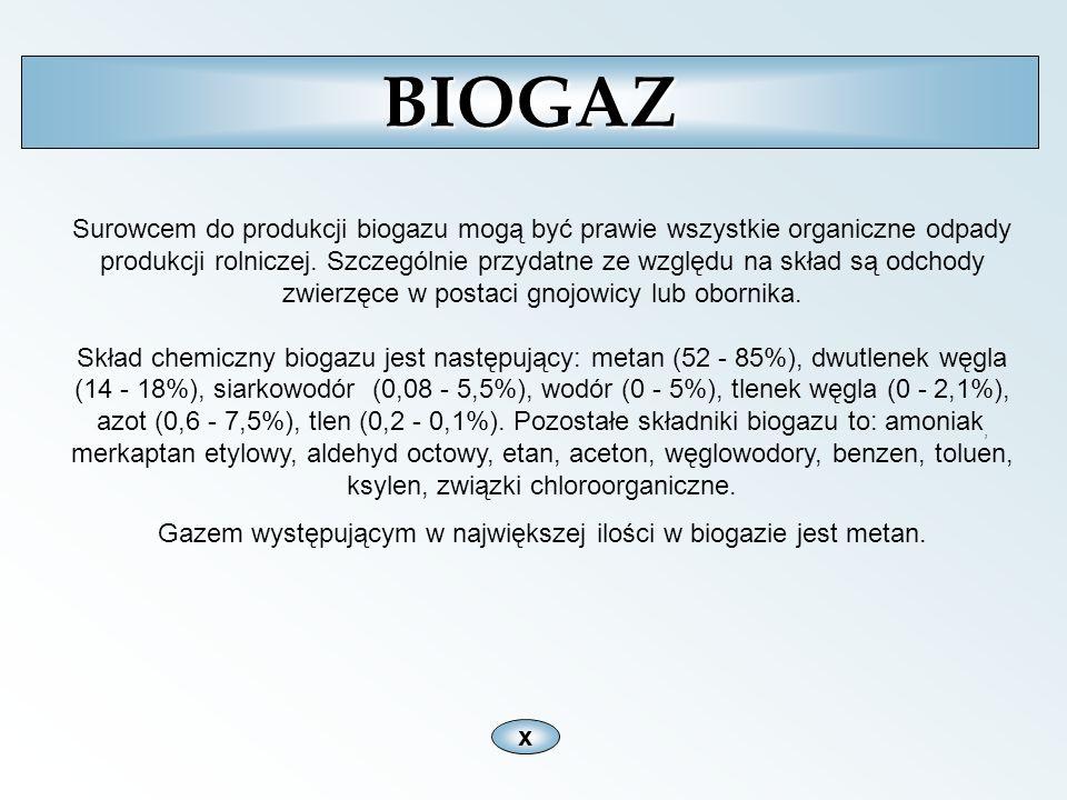 xBIOGAZ Surowcem do produkcji biogazu mogą być prawie wszystkie organiczne odpady produkcji rolniczej. Szczególnie przydatne ze względu na skład są od