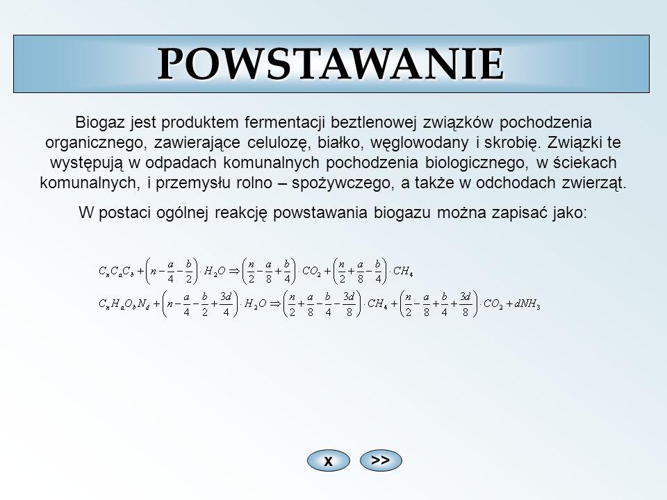 x>>POWSTAWANIE Biogaz jest produktem fermentacji beztlenowej związków pochodzenia organicznego, zawierające celulozę, białko, węglowodany i skrobię. Z