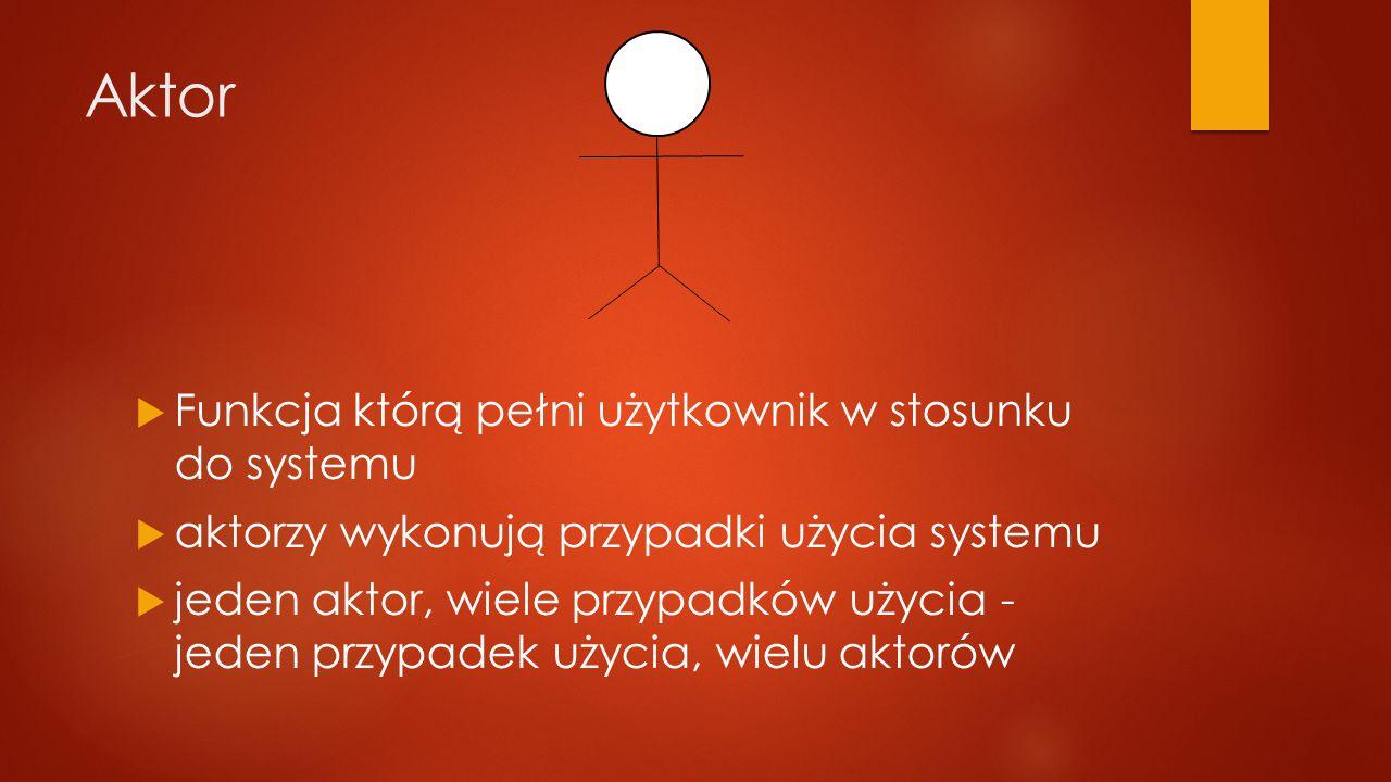 Aktor  Funkcja którą pełni użytkownik w stosunku do systemu  aktorzy wykonują przypadki użycia systemu  jeden aktor, wiele przypadków użycia - jeden przypadek użycia, wielu aktorów