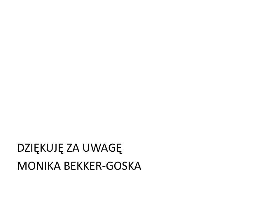DZIĘKUJĘ ZA UWAGĘ MONIKA BEKKER-GOSKA