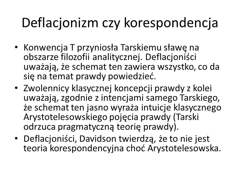 Deflacjonizm czy korespondencja Konwencja T przyniosła Tarskiemu sławę na obszarze filozofii analitycznej. Deflacjoniści uważają, że schemat ten zawie