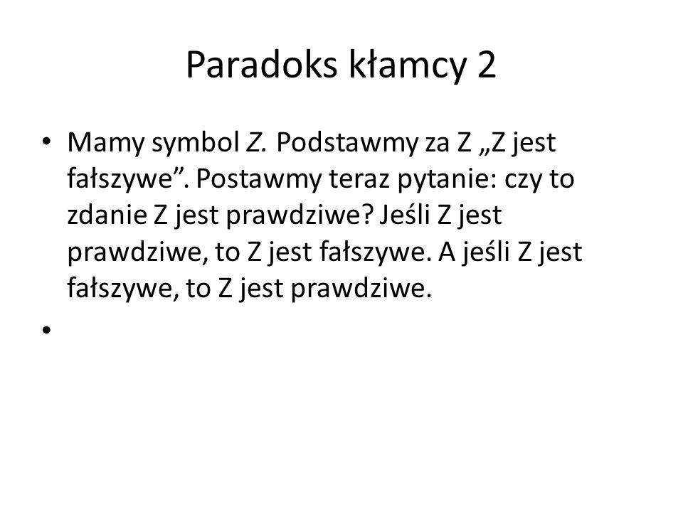 """Paradoks kłamcy 2 Mamy symbol Z. Podstawmy za Z """"Z jest fałszywe"""". Postawmy teraz pytanie: czy to zdanie Z jest prawdziwe? Jeśli Z jest prawdziwe, to"""