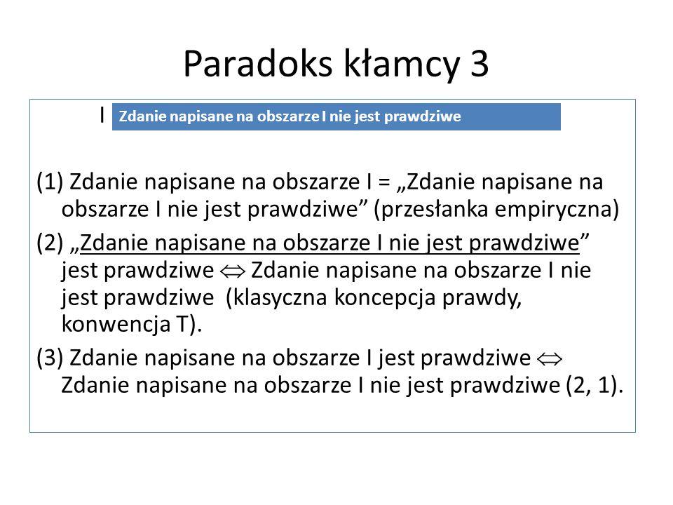 """Paradoks kłamcy 3 I (1) Zdanie napisane na obszarze I = """"Zdanie napisane na obszarze I nie jest prawdziwe"""" (przesłanka empiryczna) (2) """"Zdanie napisan"""