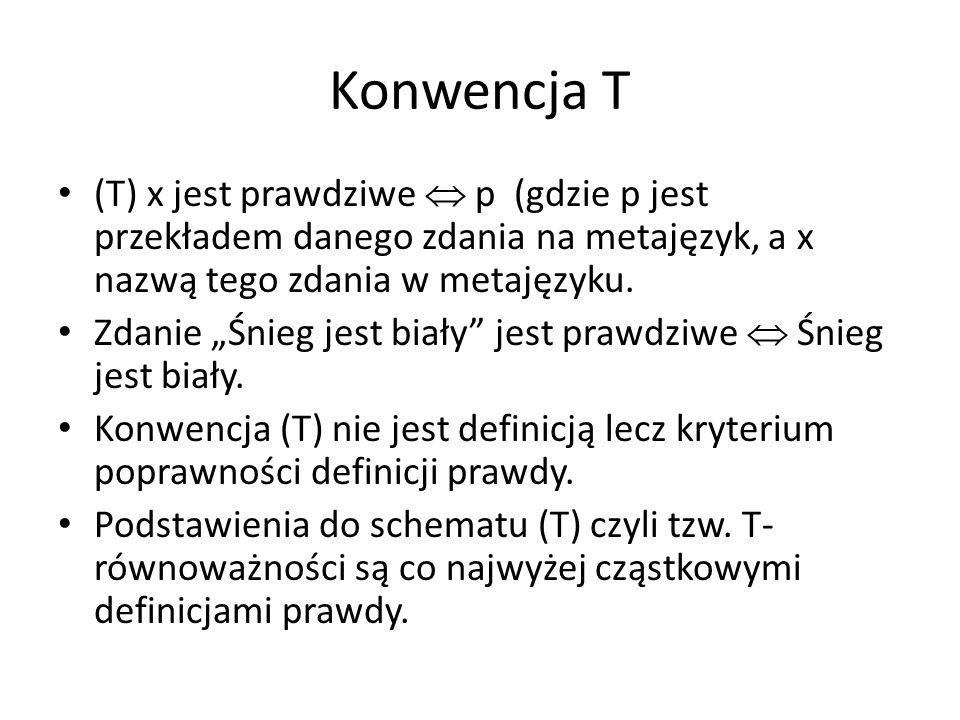 Konwencja T (T) x jest prawdziwe  p (gdzie p jest przekładem danego zdania na metajęzyk, a x nazwą tego zdania w metajęzyku.