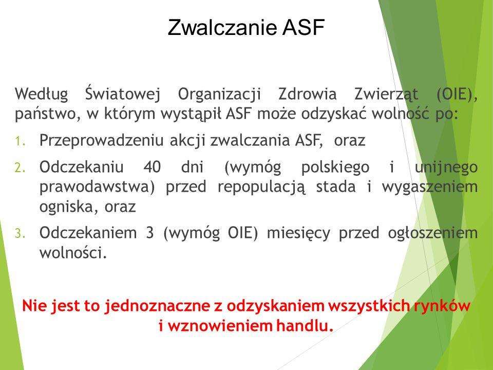 Według Światowej Organizacji Zdrowia Zwierząt (OIE), państwo, w którym wystąpił ASF może odzyskać wolność po: 1. Przeprowadzeniu akcji zwalczania ASF,