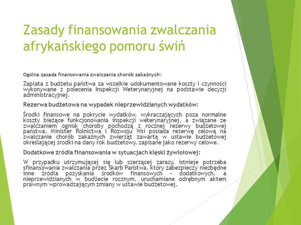 Zasady finansowania zwalczania afrykańskiego pomoru świń Ogólna zasada finansowania zwalczania chorób zakaźnych: Zapłata z budżetu państwa za wszelkie