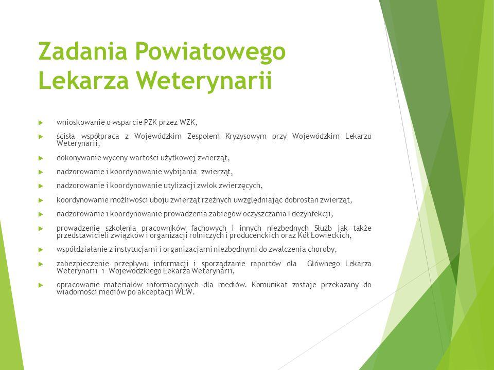 Zadania Powiatowego Lekarza Weterynarii  wnioskowanie o wsparcie PZK przez WZK,  ścisła współpraca z Wojewódzkim Zespołem Kryzysowym przy Wojewódzki