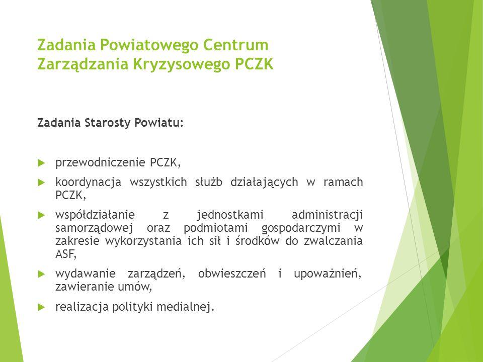 Zadania Powiatowego Centrum Zarządzania Kryzysowego PCZK Zadania Starosty Powiatu:  przewodniczenie PCZK,  koordynacja wszystkich służb działających
