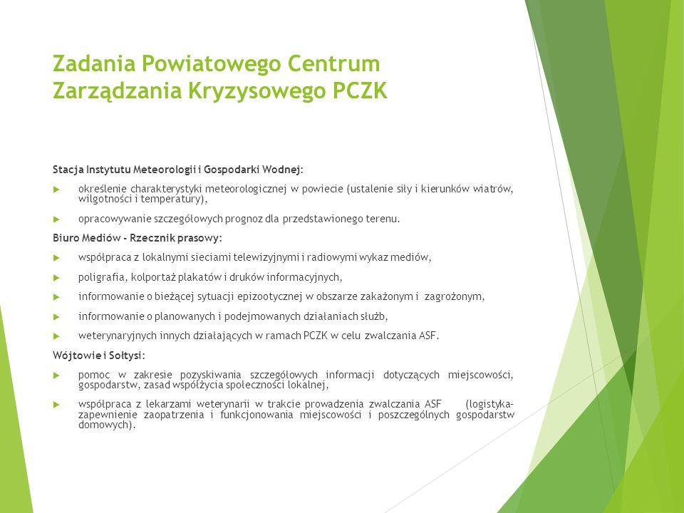 Zadania Powiatowego Centrum Zarządzania Kryzysowego PCZK Stacja Instytutu Meteorologii i Gospodarki Wodnej:  określenie charakterystyki meteorologicz