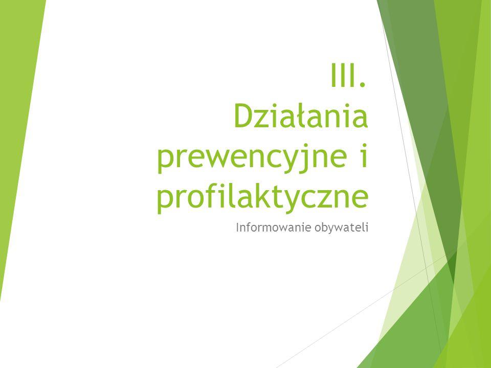 III. Działania prewencyjne i profilaktyczne Informowanie obywateli