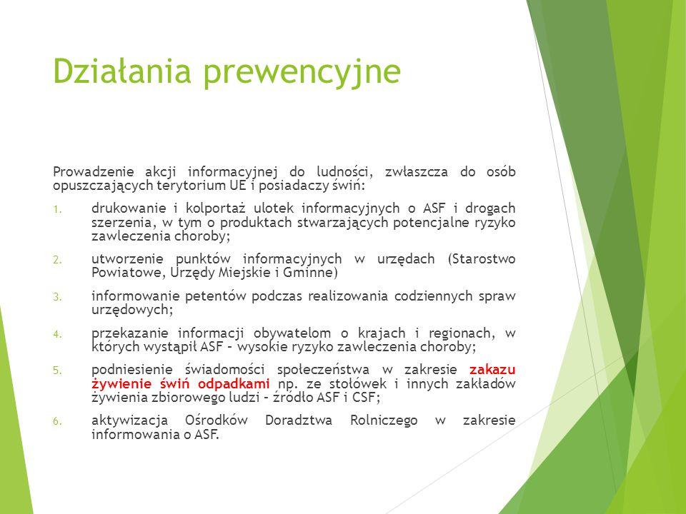 Działania prewencyjne Prowadzenie akcji informacyjnej do ludności, zwłaszcza do osób opuszczających terytorium UE i posiadaczy świń: 1. drukowanie i k