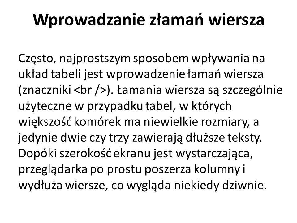 Wprowadzanie złamań wiersza Często, najprostszym sposobem wpływania na układ tabeli jest wprowadzenie łamań wiersza (znaczniki ). Łamania wiersza są s