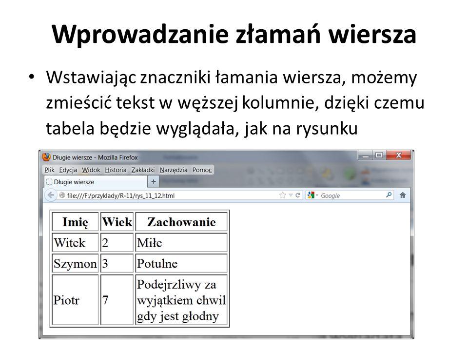 Wprowadzanie złamań wiersza Wstawiając znaczniki łamania wiersza, możemy zmieścić tekst w węższej kolumnie, dzięki czemu tabela będzie wyglądała, jak
