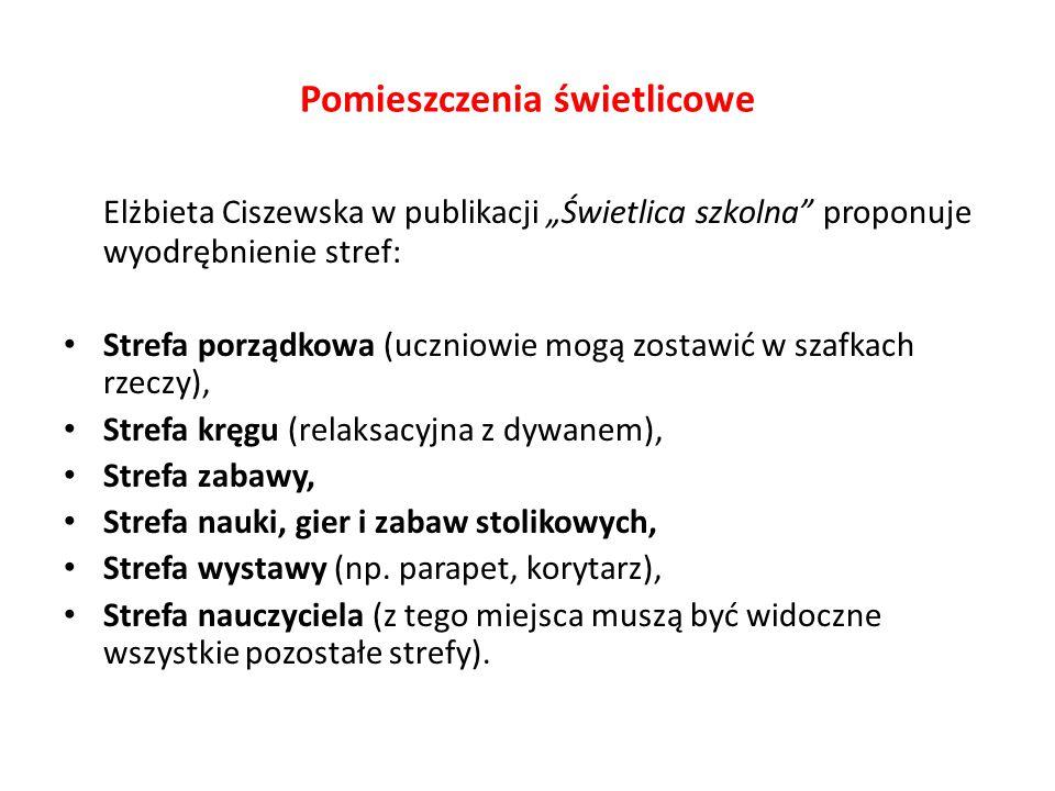 """Pomieszczenia świetlicowe Elżbieta Ciszewska w publikacji """"Świetlica szkolna"""" proponuje wyodrębnienie stref: Strefa porządkowa (uczniowie mogą zostawi"""