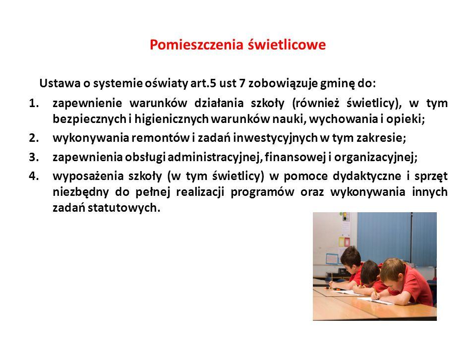 Pomieszczenia świetlicowe Ustawa o systemie oświaty art.5 ust 7 zobowiązuje gminę do: 1.zapewnienie warunków działania szkoły (również świetlicy), w t