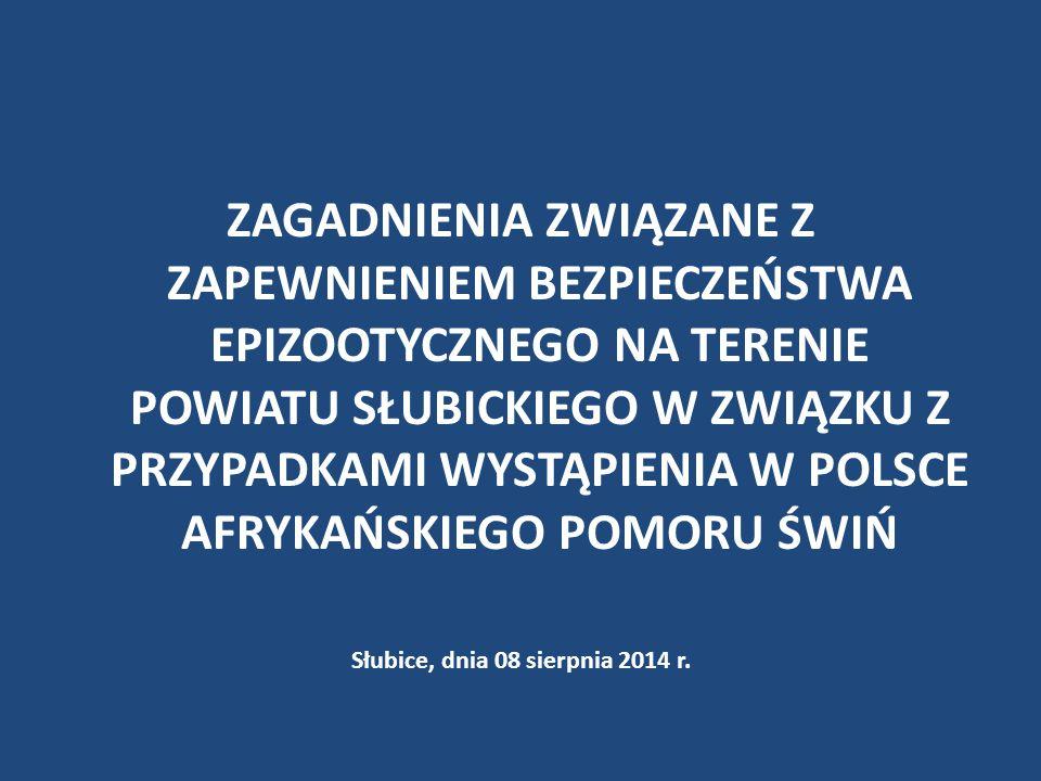 Na terenie powiatu prowadzi się kampanię informacyjną (w tym szkolenia) w zakresie zagadnień związanych z zapewnieniem bezpieczeństwa epizootycznego na terenie powiatu słubickiego w związku z przypadkami wystąpienia w Polsce afrykańskiego pomoru świń dla podmiotów prowadzących działalność nadzorowaną, związaną z produkcją żywności pochodzenia zwierzęcego i pasz oraz dla rolników, myśliwych, władz samorządowych oraz społeczeństwa