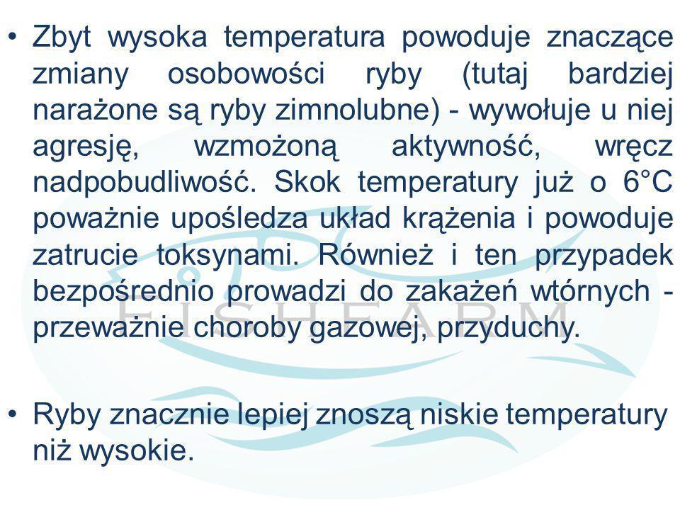 Zbyt wysoka temperatura powoduje znaczące zmiany osobowości ryby (tutaj bardziej narażone są ryby zimnolubne) - wywołuje u niej agresję, wzmożoną akty