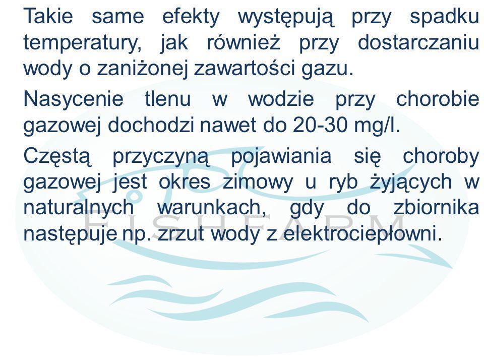 Takie same efekty występują przy spadku temperatury, jak również przy dostarczaniu wody o zaniżonej zawartości gazu. Nasycenie tlenu w wodzie przy cho