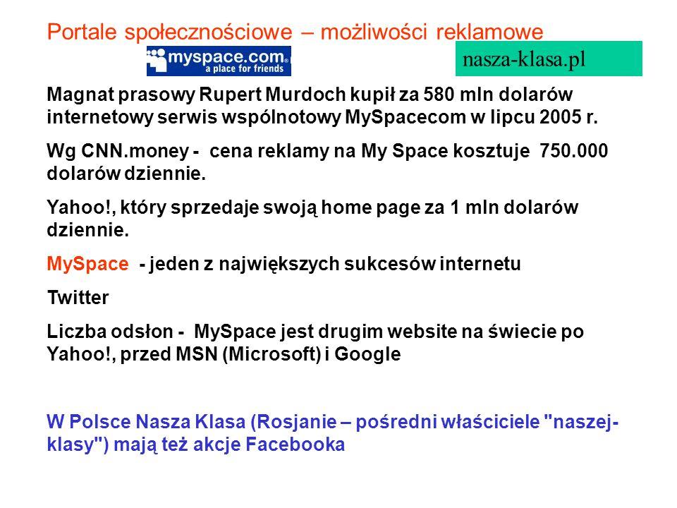 Magnat prasowy Rupert Murdoch kupił za 580 mln dolarów internetowy serwis wspólnotowy MySpacecom w lipcu 2005 r.