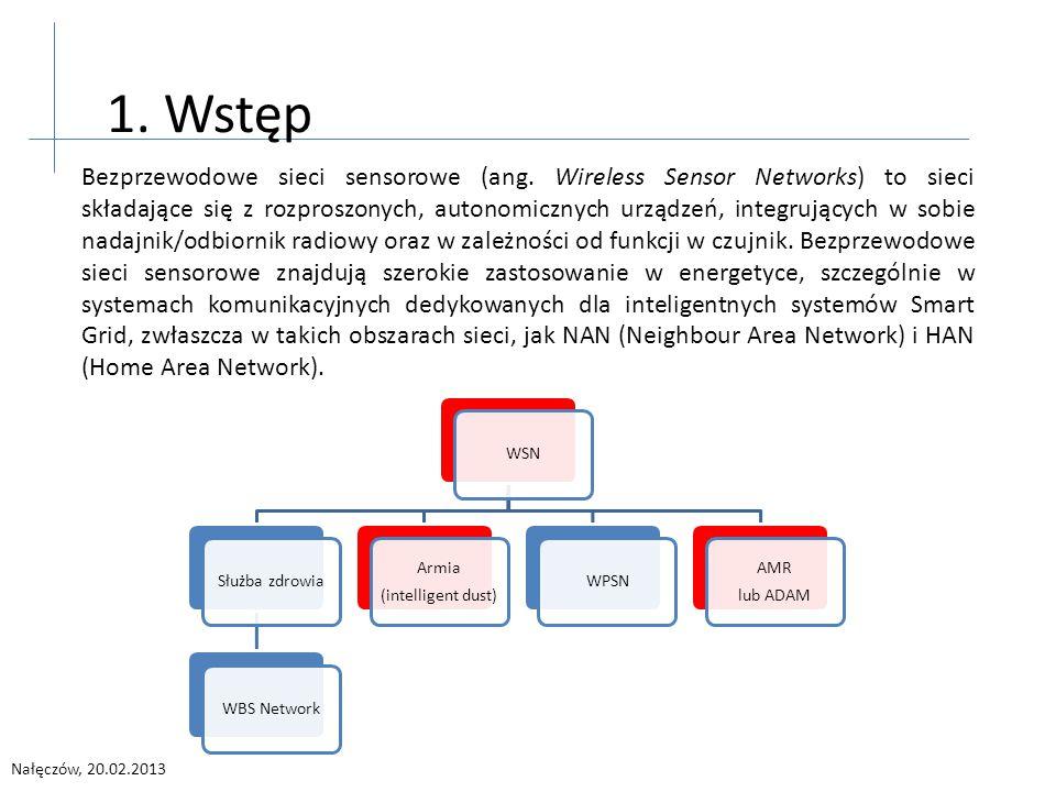 Nałęczów, 20.02.2013 Bezprzewodowe sieci sensorowe (ang. Wireless Sensor Networks) to sieci składające się z rozproszonych, autonomicznych urządzeń, i