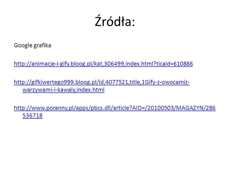 Źródła: Google grafika http://animacje-i-gify.bloog.pl/kat,306499,index.html?ticaid=610886 http://gifkiwertego999.bloog.pl/id,4077521,title,1Gify-z-ow