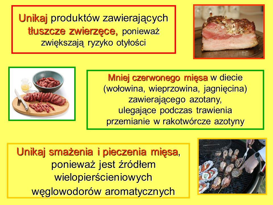 Unikaj produktów zawierających tłuszcze zwierzęce, ponieważ zwiększają ryzyko otyłości Unikaj smażenia i pieczenia mięsa, ponieważ jest źródłem wielop