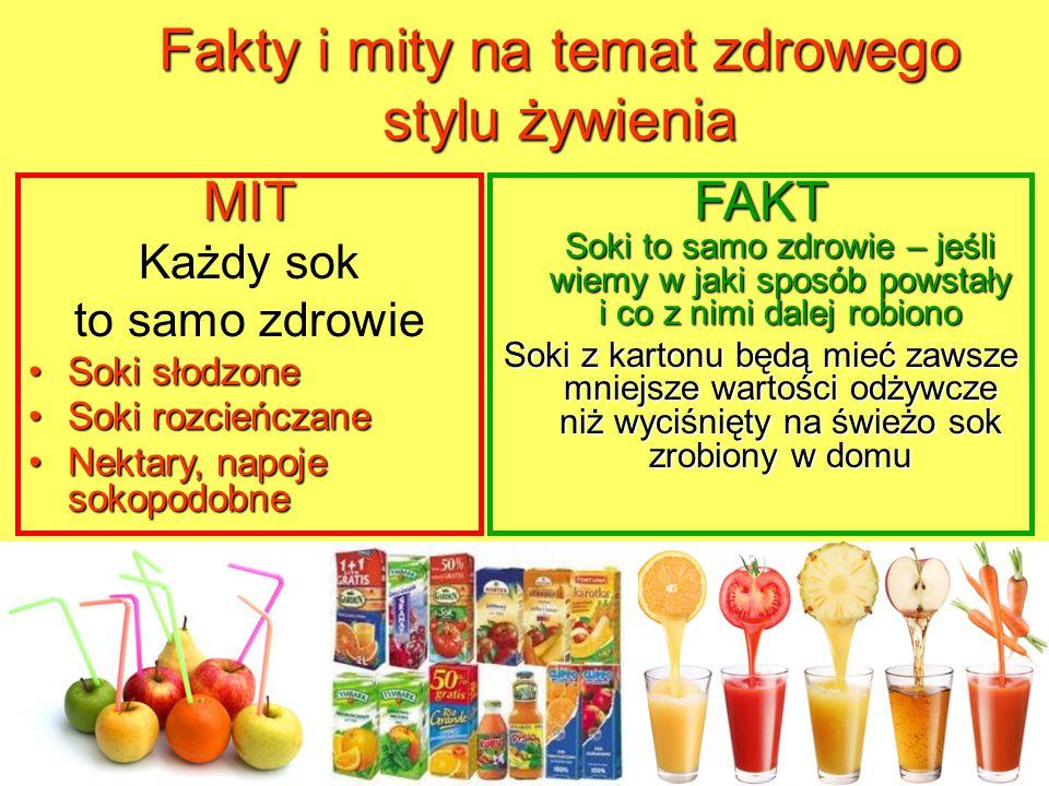 Fakty i mity na temat zdrowego stylu żywienia MIT Każdy sok to samo zdrowie Soki słodzoneSoki słodzone Soki rozcieńczaneSoki rozcieńczane Nektary, nap