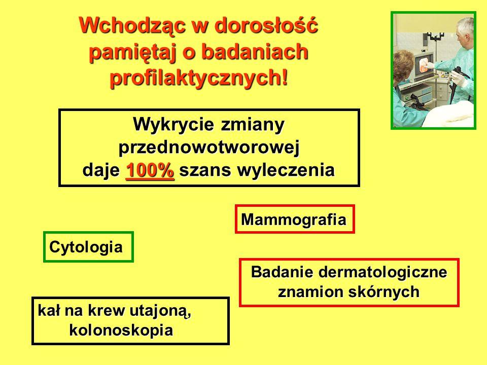 Wchodząc w dorosłość pamiętaj o badaniach profilaktycznych! kał na krew utajoną, kolonoskopia kolonoskopia Wykrycie zmiany przednowotworowej daje 100%