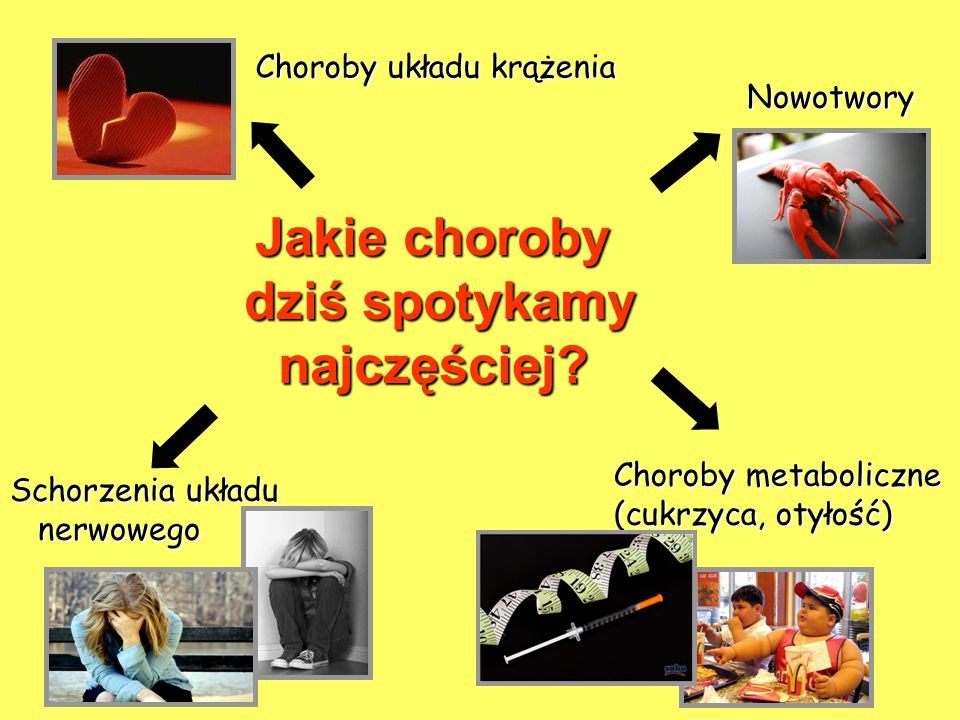 Jakie choroby dziś spotykamy najczęściej? Nowotwory Choroby układu krążenia Choroby metaboliczne (cukrzyca, otyłość) Schorzenia układu nerwowego nerwo