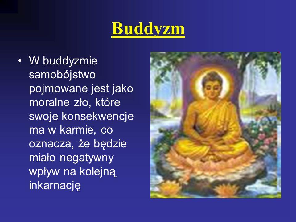 Buddyzm W buddyzmie samobójstwo pojmowane jest jako moralne zło, które swoje konsekwencje ma w karmie, co oznacza, że będzie miało negatywny wpływ na kolejną inkarnację