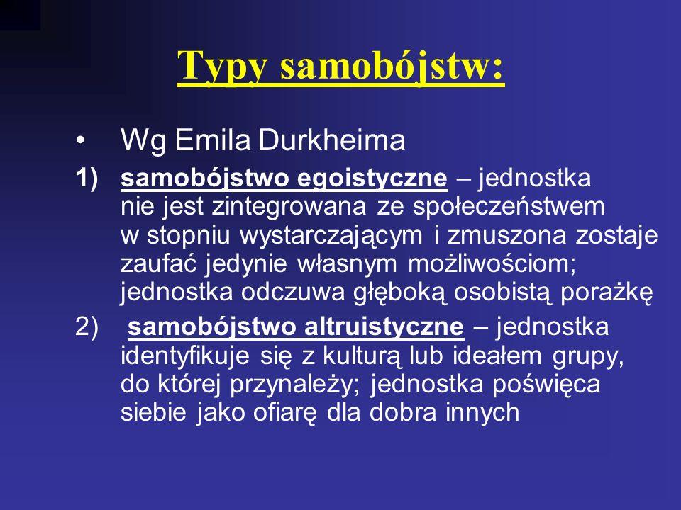 Typy samobójstw: Wg Emila Durkheima 1)samobójstwo egoistyczne – jednostka nie jest zintegrowana ze społeczeństwem w stopniu wystarczającym i zmuszona