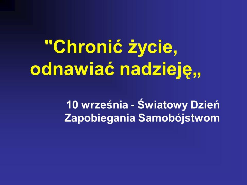"""Chronić życie, odnawiać nadzieję"""" 10 września - Światowy Dzień Zapobiegania Samobójstwom"""