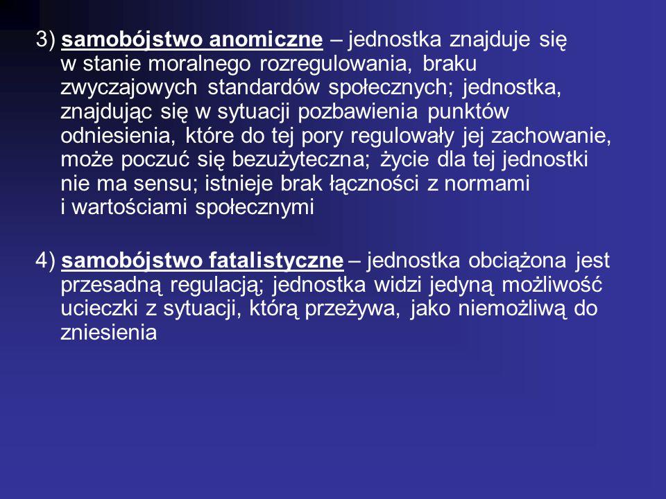 3) samobójstwo anomiczne – jednostka znajduje się w stanie moralnego rozregulowania, braku zwyczajowych standardów społecznych; jednostka, znajdując s