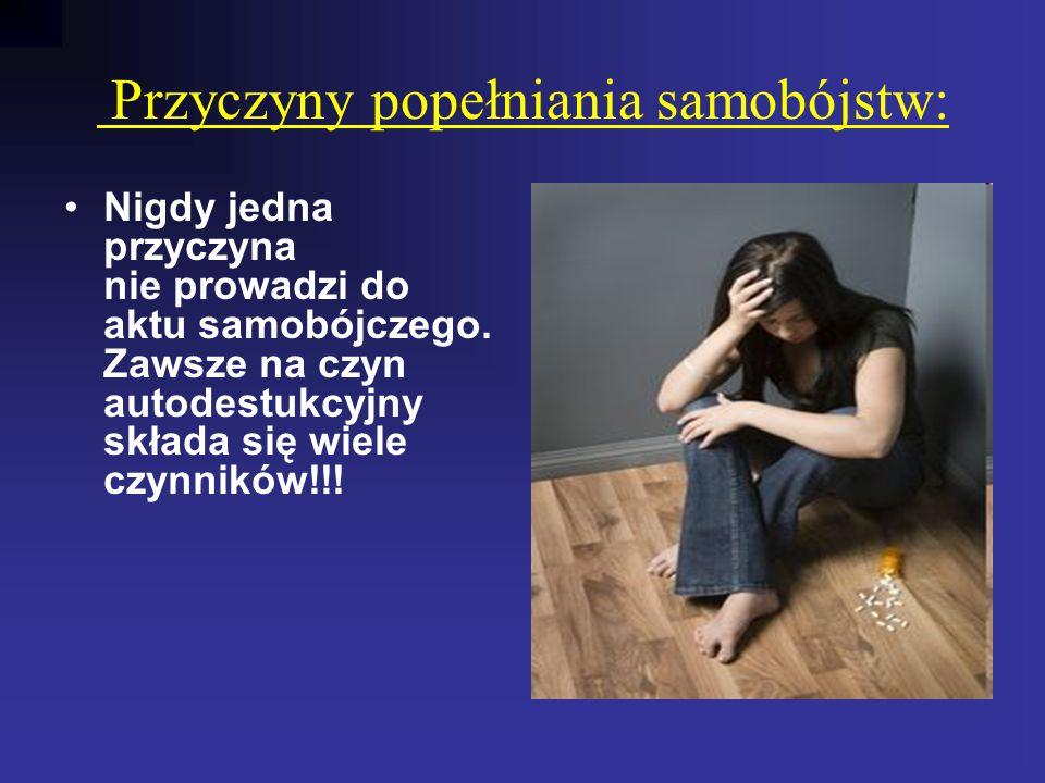 Przyczyny popełniania samobójstw: Nigdy jedna przyczyna nie prowadzi do aktu samobójczego. Zawsze na czyn autodestukcyjny składa się wiele czynników!!