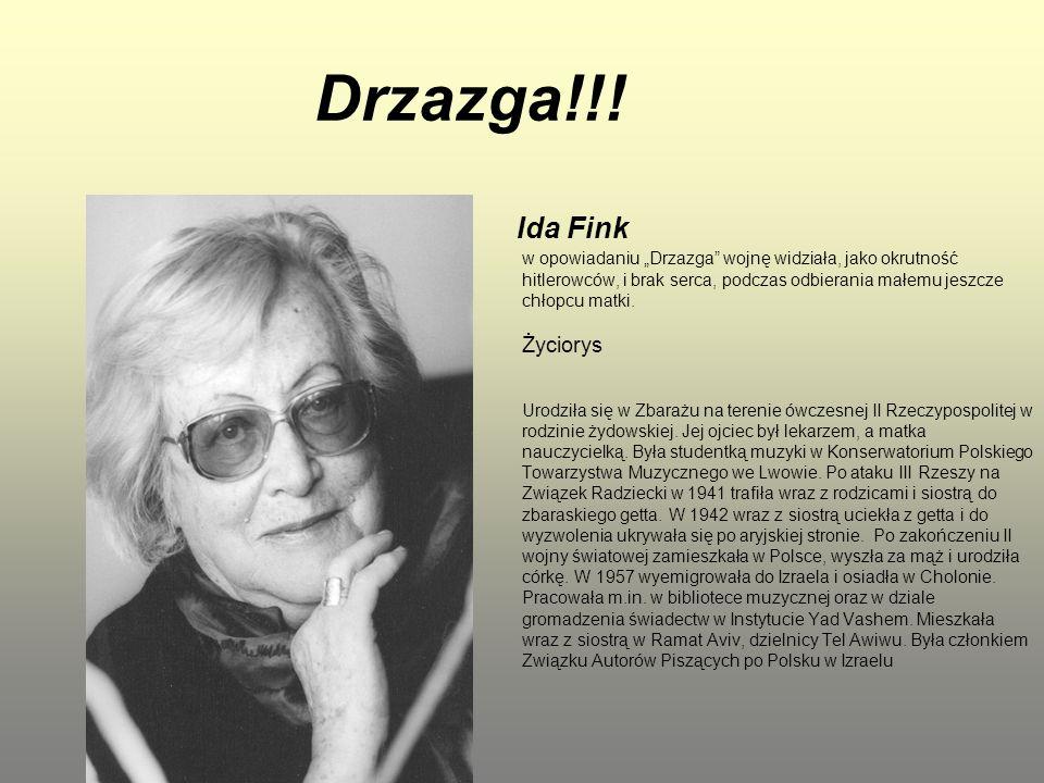 """Drzazga!!! Ida Fink w opowiadaniu """"Drzazga"""" wojnę widziała, jako okrutność hitlerowców, i brak serca, podczas odbierania małemu jeszcze chłopcu matki."""