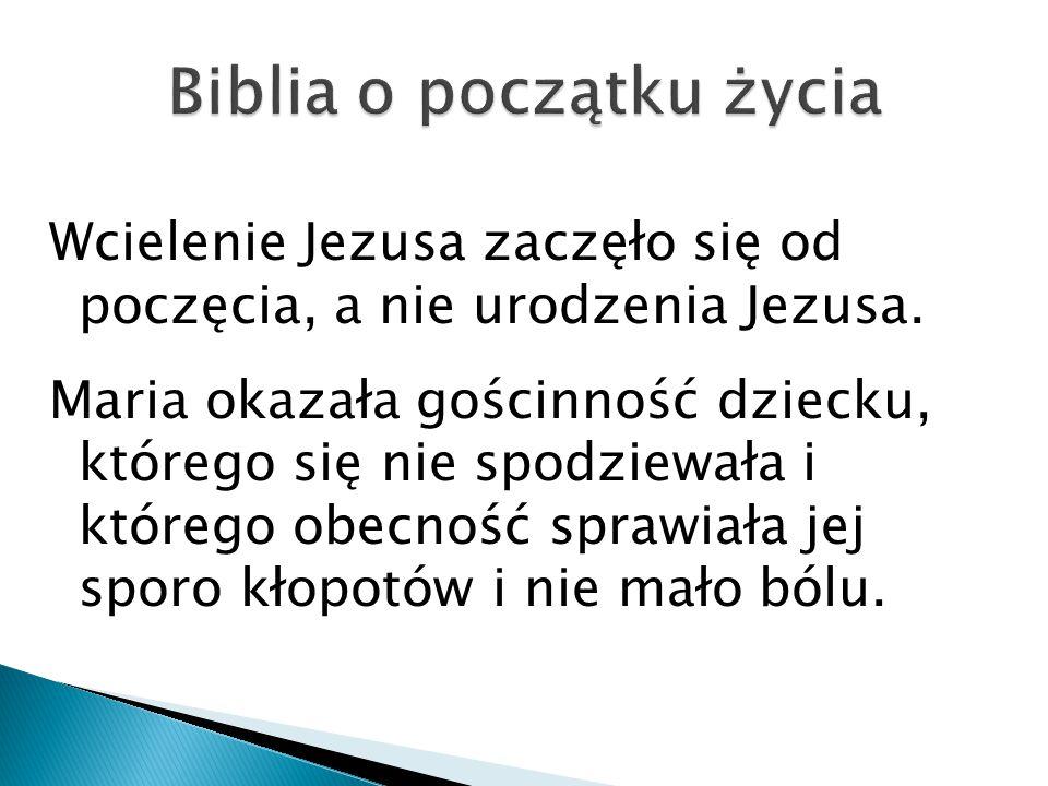 Wcielenie Jezusa zaczęło się od poczęcia, a nie urodzenia Jezusa. Maria okazała gościnność dziecku, którego się nie spodziewała i którego obecność spr