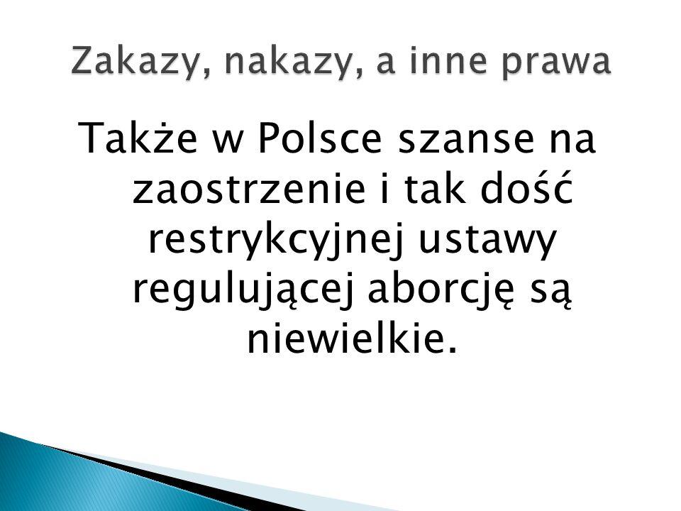 Także w Polsce szanse na zaostrzenie i tak dość restrykcyjnej ustawy regulującej aborcję są niewielkie.