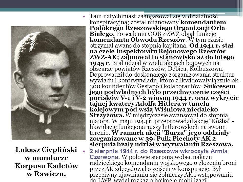Tam natychmiast zaangażował się w działalność konspiracyjną; został mianowany komendantem Podokręgu Rzeszowskiego Organizacji Orła Białego. Po scaleni