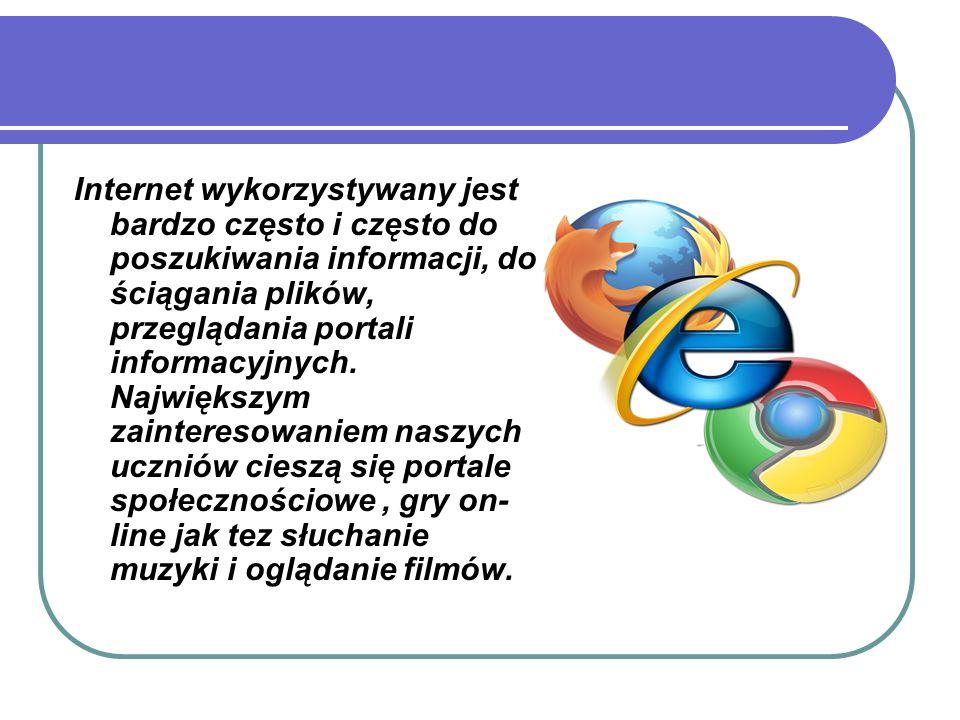 Internet wykorzystywany jest bardzo często i często do poszukiwania informacji, do ściągania plików, przeglądania portali informacyjnych. Największym