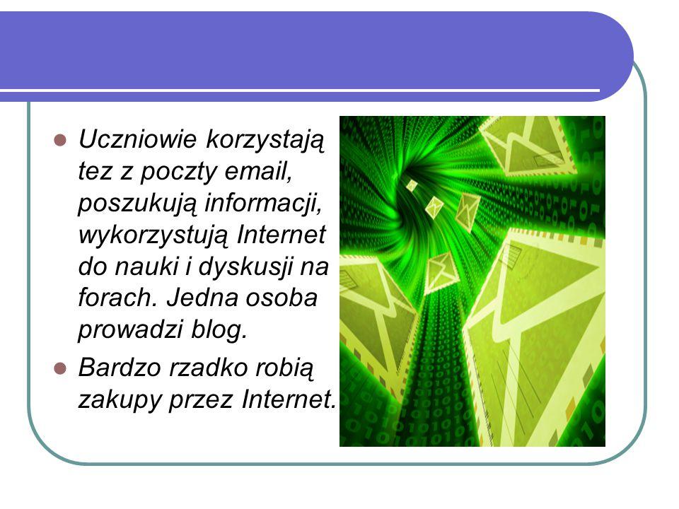 Uczniowie korzystają tez z poczty email, poszukują informacji, wykorzystują Internet do nauki i dyskusji na forach. Jedna osoba prowadzi blog. Bardzo