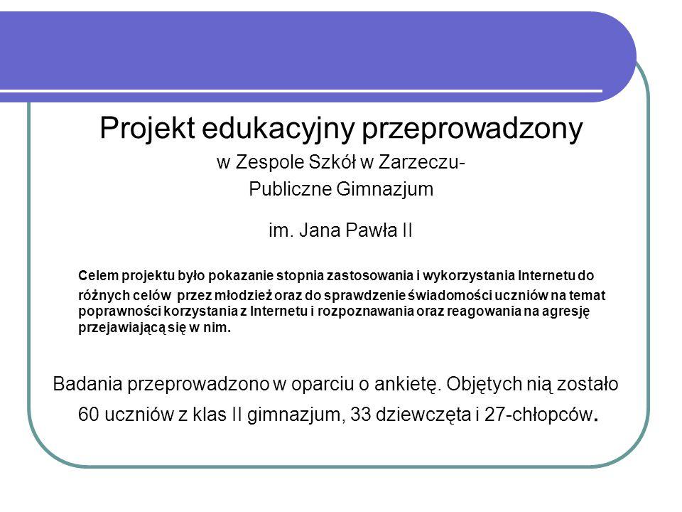 Projekt edukacyjny przeprowadzony w Zespole Szkół w Zarzeczu- Publiczne Gimnazjum im. Jana Pawła II Celem projektu było pokazanie stopnia zastosowania