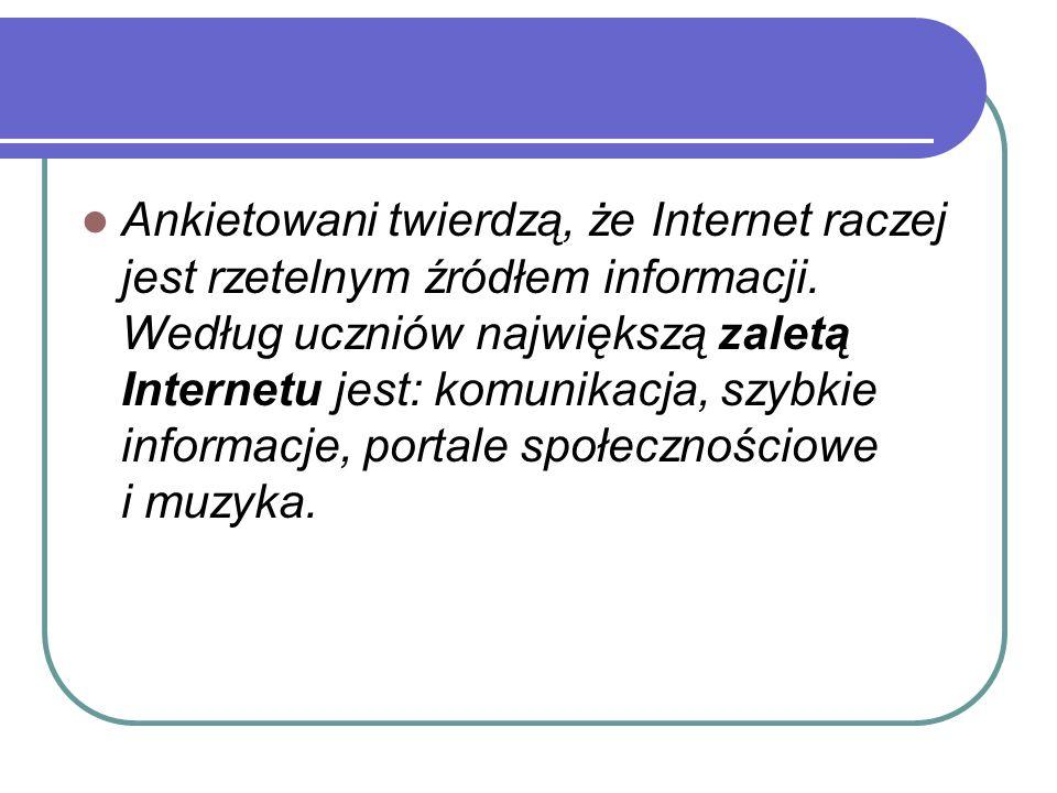 Ankietowani twierdzą, że Internet raczej jest rzetelnym źródłem informacji. Według uczniów największą zaletą Internetu jest: komunikacja, szybkie info