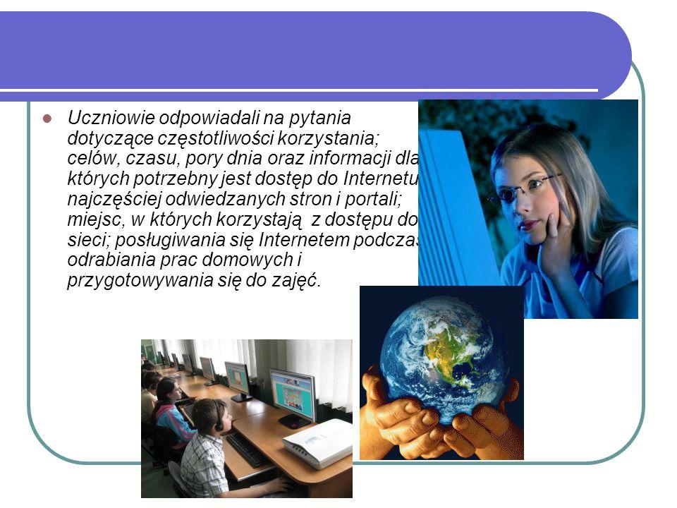 Uczniowie odpowiadali na pytania dotyczące częstotliwości korzystania; celów, czasu, pory dnia oraz informacji dla których potrzebny jest dostęp do In