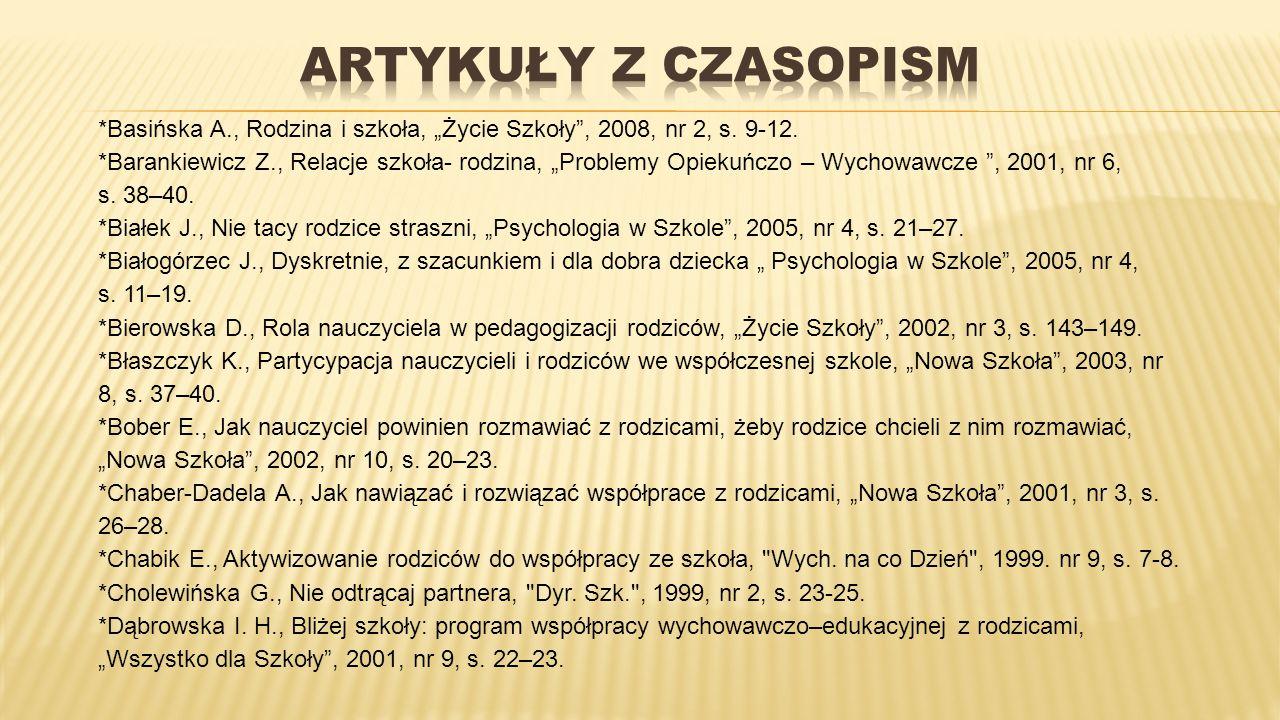 """*Basińska A., Rodzina i szkoła, """"Życie Szkoły"""", 2008, nr 2, s. 9-12. *Barankiewicz Z., Relacje szkoła- rodzina, """"Problemy Opiekuńczo – Wychowawcze """","""