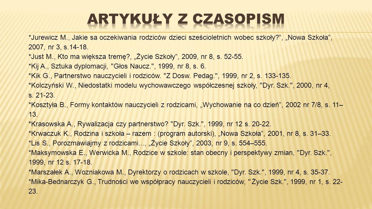 """*Jurewicz M., Jakie sa oczekiwania rodziców dzieci sześcioletnich wobec szkoły?"""", """"Nowa Szkoła"""", 2007, nr 3, s.14-18. *Just M., Kto ma większa tremę?,"""