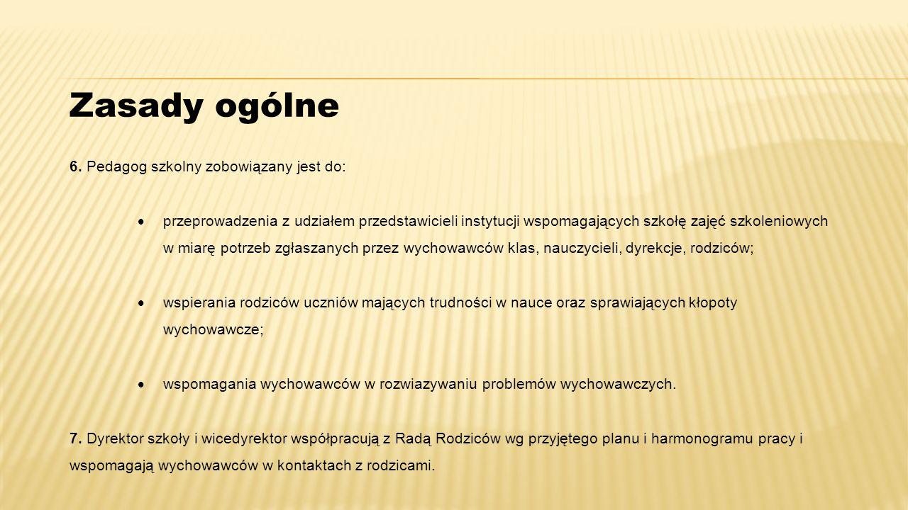 6. Pedagog szkolny zobowiązany jest do:  przeprowadzenia z udziałem przedstawicieli instytucji wspomagających szkołę zajęć szkoleniowych w miarę potr