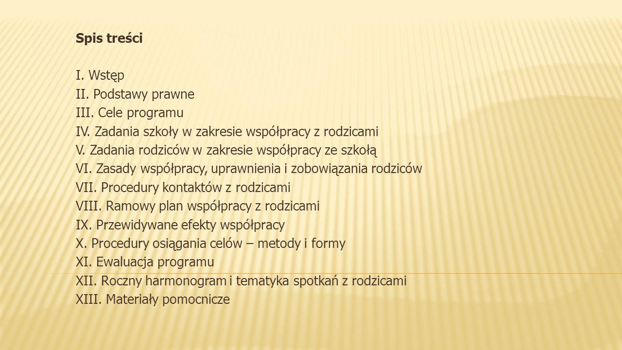 Spis treści I. Wstęp II. Podstawy prawne III. Cele programu IV. Zadania szkoły w zakresie współpracy z rodzicami V. Zadania rodziców w zakresie współp