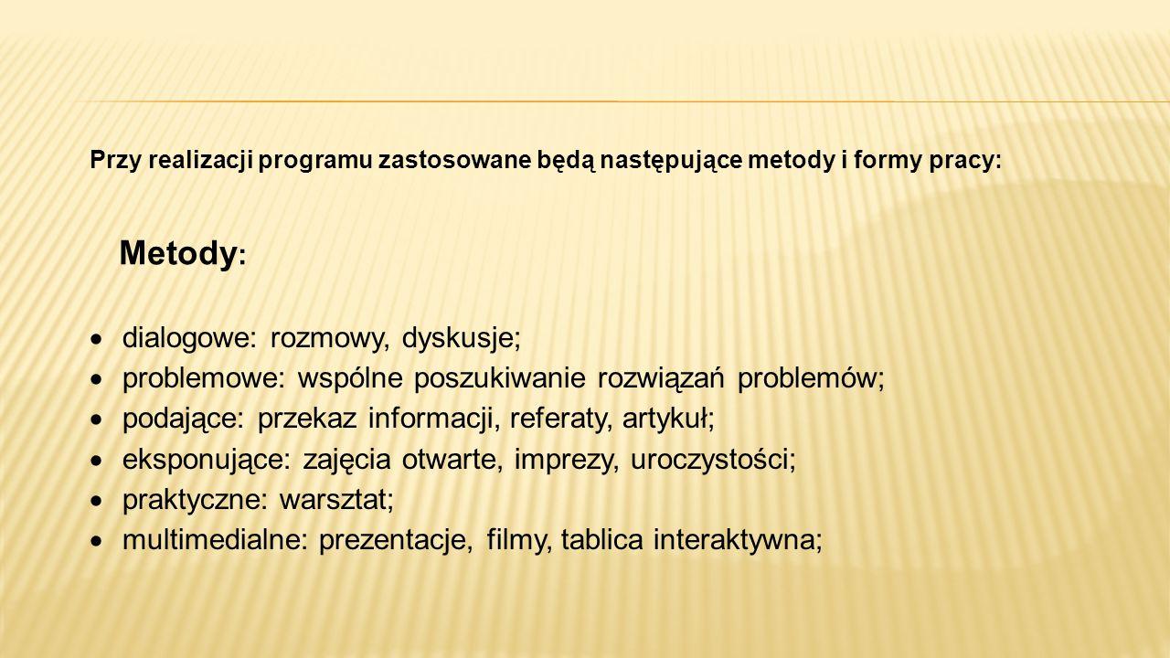 Przy realizacji programu zastosowane będą następujące metody i formy pracy: Metody :  dialogowe: rozmowy, dyskusje;  problemowe: wspólne poszukiwani