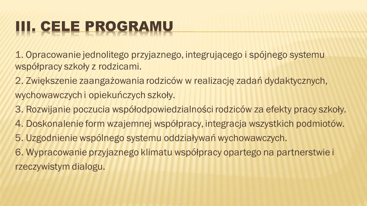 1. Opracowanie jednolitego przyjaznego, integrującego i spójnego systemu współpracy szkoły z rodzicami. 2. Zwiększenie zaangażowania rodziców w realiz