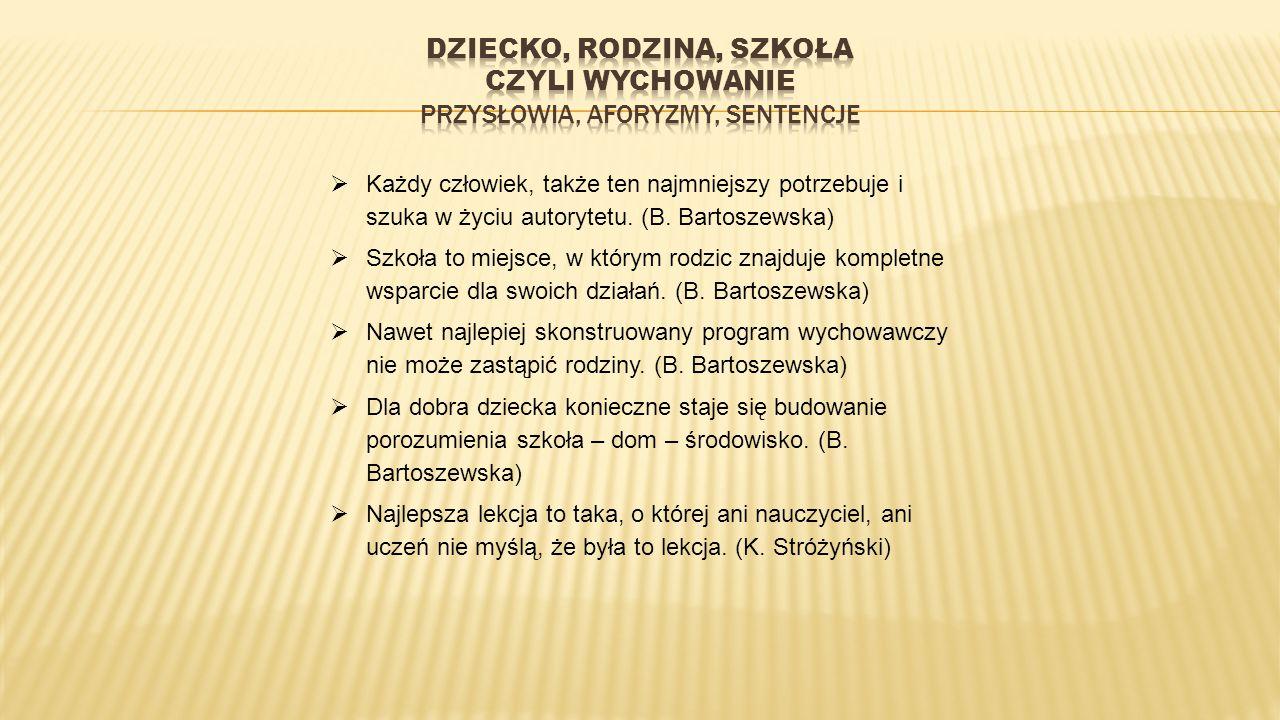  Każdy człowiek, także ten najmniejszy potrzebuje i szuka w życiu autorytetu. (B. Bartoszewska)  Szkoła to miejsce, w którym rodzic znajduje komplet